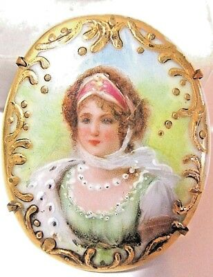 Victorian Antique Hand Painted Pin Queen Louise Of Prussia Gilt Gold Porcelain