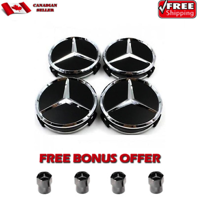 4X Mercedes Benz Wheel Center Caps Glossy Black & Silver Piano Black 75MM