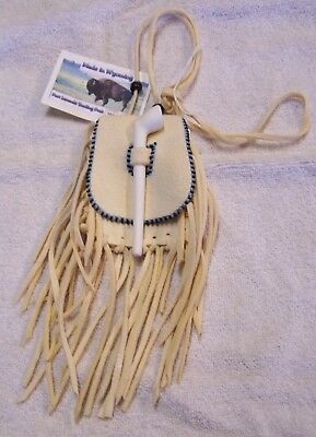 Hand Made Small Beaded Tobacco Pouch Rendezvous Black Powder Mountain Man   24