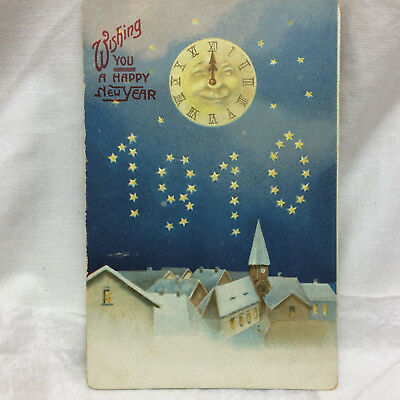 Vintage Postcard Embossed Happy New year greeting 1910 Unused
