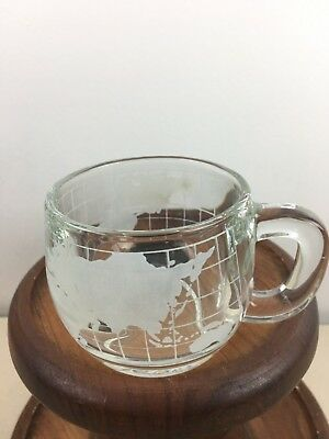 Nestle  vintage world map etched clear glass coffee tea glass cup mug 1970`s 299