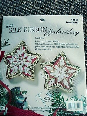 Bucilla Silk Ribbon Embroidery 83551 Snowflakes Pair of Broaches