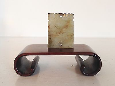 Old Vintage Chinese Carved White Hard Stone Pendant Amulet Charm ~Scroll Stand~
