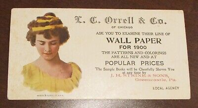 1900  Orrell Co Chicago WAll Paper Blotter JH STrine Greencastle PA