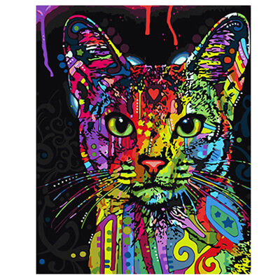 Modern Colorful Cat Kitty Canvas Oil Painting Picture Wall Art Home Room Decor