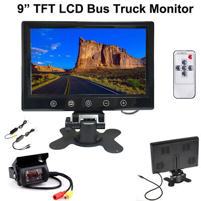 Wireless Rear Backup Camera Night Vision +Rear View Monitor for RV Bus Truck Kit