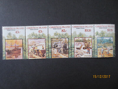 no--1--- 1991  CHRISTMAS  ISLAND   ISSUES  STRIP   5   STAMPS --MINT