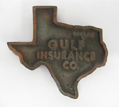 Gulf Insurance Co Dallas Texas Metal Paperweight Trivet Souvenir Promo 1948
