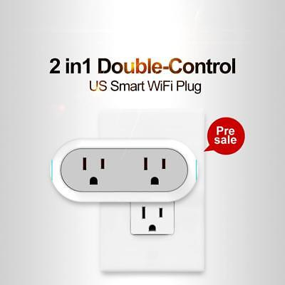 Smart WiFi Plug Dual Outlet Socket Switch Work with Google Home Alexa Phone US
