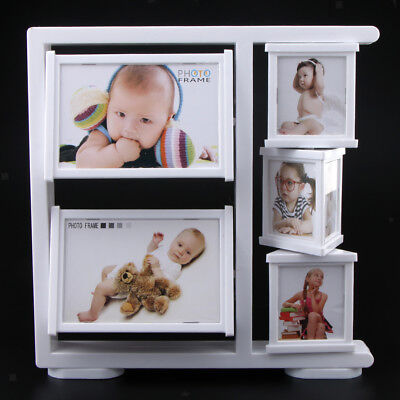 Rotating Baby Photo Frame, Newborn White Picture Frame Standing Table Decor
