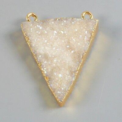 Triangle Natural Agate Druzy Titanium AB Connector Gold Plated B063147