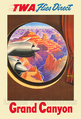 TWA Service to Grand Canyon - 1950's Advertising Poster