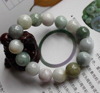Certified Natural (A) Beautiful Untreated Lavender & Green JADE Beads Bracelet