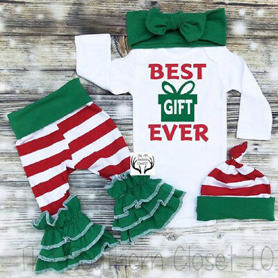 US Christmas Newborn Baby Girl Xmas Long Sleeve Romper Striped Pants Outfits Set