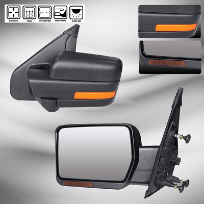 For 2007-2014 Ford F150 Power Heated Side Rearview Towing Mirrors