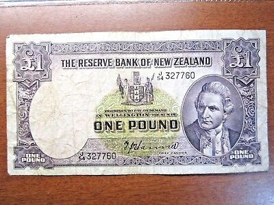 New Zealand One Pound Bank Note Pre Decimal Hanna Banknotes 1940 To 1955