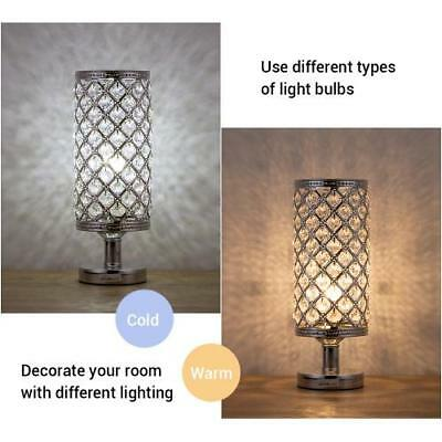 HAITRAL Crystal Cylinder Table Lamp, Vintage Modern Night Lamp, Nightstand, Deco