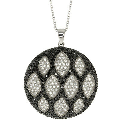925 Silver Circular Shape Hand Set Micro Pave Black and White CZ Pendant