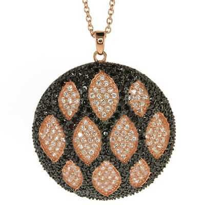 Rose Gold Plated Sterling Silver Circular Shape Hand Set Micro Pave CZ Pendant