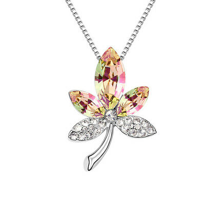 18K White Gold Plated Made with Swarovski Elements Yellow Flower Leaf Necklace