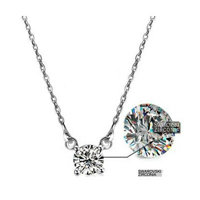 925 Sterling Silver Made with Swarovski Element White 0.6cm Classic Necklace