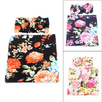 Soft Newborn Baby Infant Swaddle Wrap Blanket Floral Sleeping Bag+Headband Set