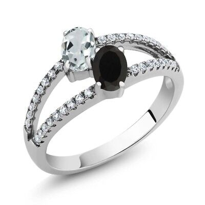 1.23 Ct Oval Sky Blue Aquamarine Black Onyx Two Stone 925 Sterling Silver Ring