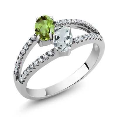1.34 Ct Green Peridot Sky Blue Aquamarine Two Stone 925 Sterling Silver Ring