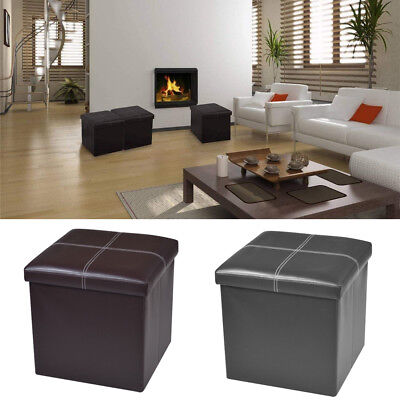 """15"""" Storage Ottoman Folding Toy Box Chest Seat Faux Leather Bench Foot Rest"""