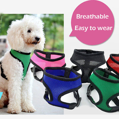 XS-L Soft Comfortable Mesh Breathable Fabric Dog Puppy Pet Adjustable Harness UK