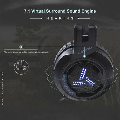 V2000 Headset 7.1 Channel 3.5mm Jack Bass Stereo Gaming Headphone With Mic MT