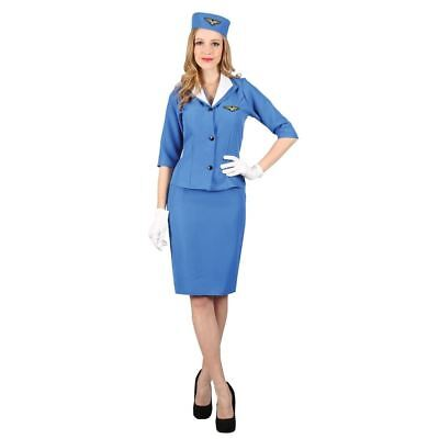 CA923 Blue Flight Delight Attendant Air Hostess 60s 70s Fancy Uniform Costume