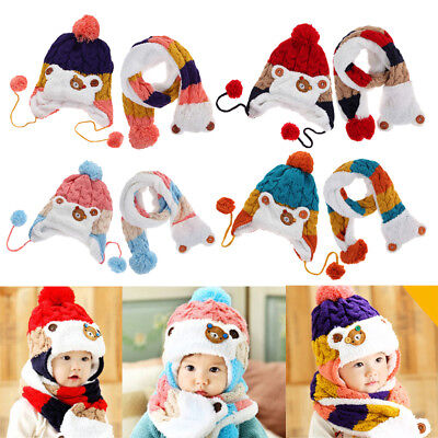 2pcs Baby Toddler Winter Beanie Warm Hat Scarf Set Earflap Knitted Cap Girl Boy