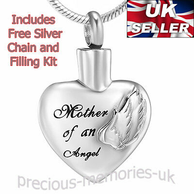 Mother of an Angel Cremation Ashes Necklace  - Memorial Jewellery Urn Pendant