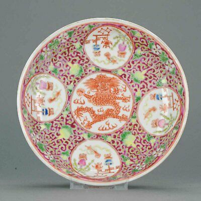 Antique Republic / Late Qing Period Chinese Qianlong Porcelain Dish Mark...