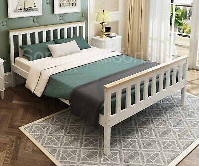 DERRY 4ft6 Double Shaker Style Two Tone White Light Oak Colour Bed Frame