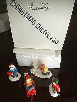 "Dept 56 SNOW VILLAGE ""Christmas Children"" #5107-1 Set of 4 EUC"