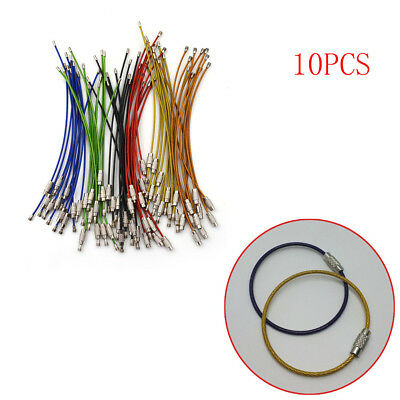 10PCS Stainless Steel Aircraft Cable Wire Key Chain Ring Twist Screw Locking  Jq