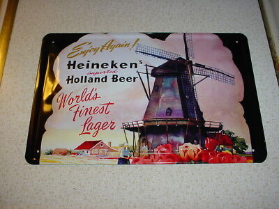 2 Heineken Beer Signs Windmill Metal Sign Enjoy Again + Vintage Heineken Bieren