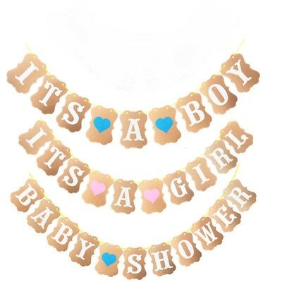 Rustic Baby Shower Bunting Banner It's A Boy Girl Party Garland Photo Props Sign