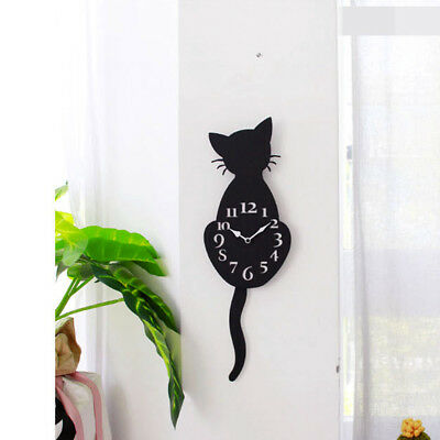 Acrylic Creative Cartoon Cute Cat Wall Clock Home Decor Watch Way Tail Move JA