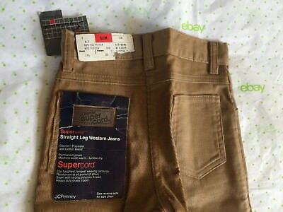 JC PENNEY SUPERCORD JEANS boys 7 slim tan corduroy western pants VTG NOS NWT NEW