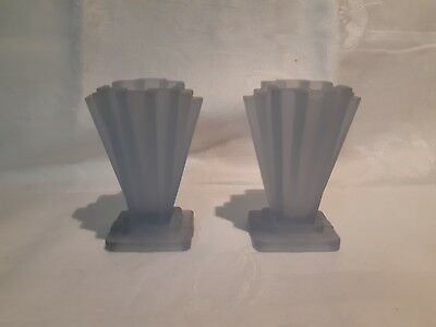 """A Pair of Art Deco Frosted  Blue Bagley 'Grantham' Vases  4"""""""