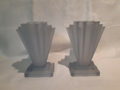 """A Pair of Art Deco Frosted  Blue Bagley 'Grantham' Vases  6"""""""