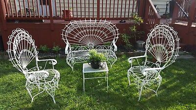 Vintage Twisted Metal and Iron Peacock Patio Set, White, Victorian, Gorgeous