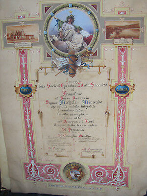 Rare Imperial Knife Proclamation Citation From Frosolone Italy Dated 1931.