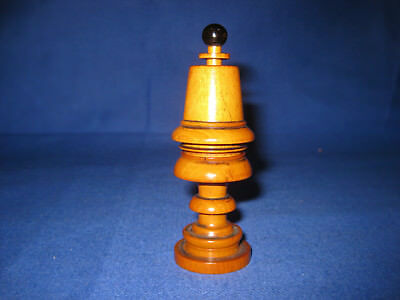 Rare Collectible Late Victorian Treen Turned Needle / Thimble / Bobbin Case