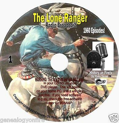 The Lone Ranger - 1960 Old Time Radio Shows - MP3 On DVD plus COMICS! on 6 DVDs!