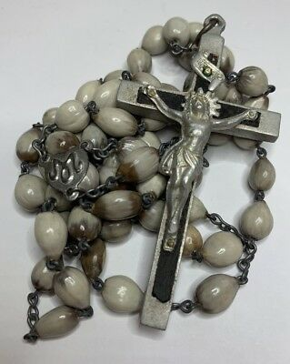 † LARGE c1800s ANTIQUE MOTHER TERESA'S FAVORITE JOB'S TEARS SEED NUN'S ROSARY †