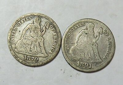 1870 1891 Seated Dimes